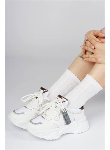 Modabuymus Modabuymus Kalın nlı Sneaker Kadın  Spor Ayakkabı - Moon Beyaz